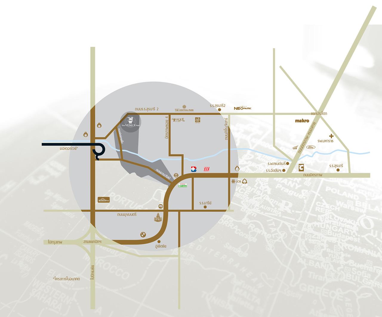 แผนที่ โครงการ เวนิส พาร์ค โคราช