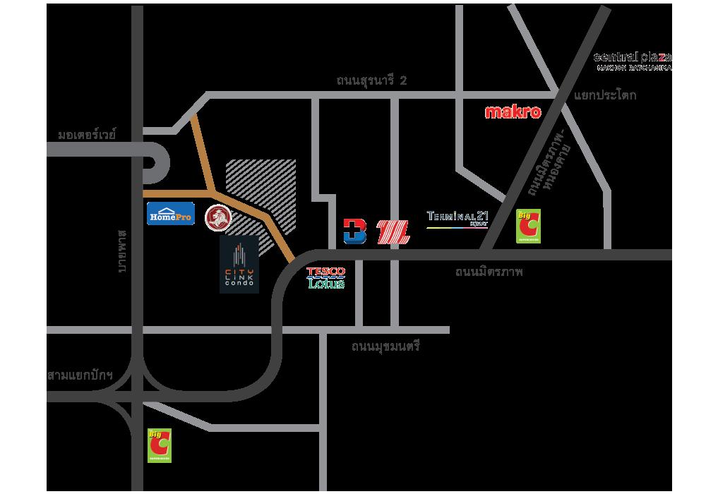 แผนที่ citylink condo korat